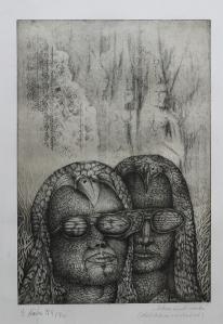 """Dieter Kühn """"Sehen und Warten. Meditation existenziell"""" Kaltnadel/Ätzradierung 1972"""
